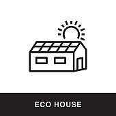 Eco House Outline Icon Design