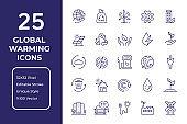 Global Warming Line Icon Design