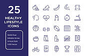 Healthy Lifestyle Line Icon Design