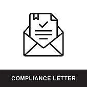 Compliance Letter Outline Icon Design