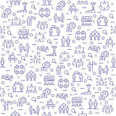 Seamless Pattern with Business People Icons