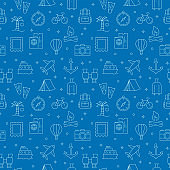 Seamless Pattern with Tourism Icons