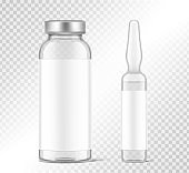 Transparent glass ampule and bottle for vaccine injections mockup.