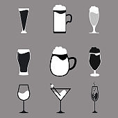 Different types of beer wine and cocktail glasses Set of 9 drink icon variations
