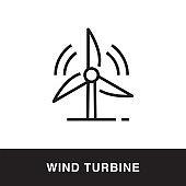 Wind Turbine Outline Icon Design