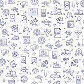 Seamless Pattern with SEO and Data Analytics Icons.
