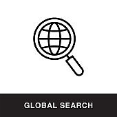 Global Search Outline Icon Design