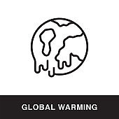 Global Warming Outline Icon Design