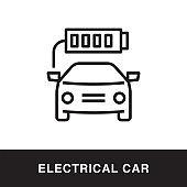 Electrical Car Outline Icon Design