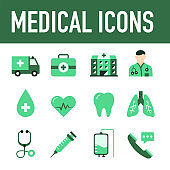 Medical And Healthcare Flat Style Icon Design