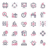 Premium Quality Multicolor Icons of Job Satisfaction and Human Resources Management Set