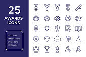 Awards And Success Line Icon Design