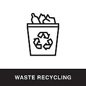 Waste Recycling Outline Icon Design
