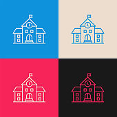 School Building multi color icon