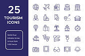 Tourism and Holiday Line Icon Design