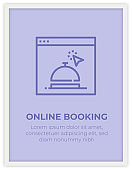 ONLINE BOOKING SINGLE ICON POSTER DESIGN