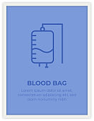 BLOOD BAG SINGLE ICON POSTER DESIGN
