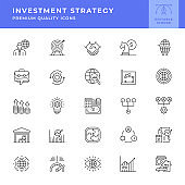 Investment Strategy Line Icon Set. Editable Stroke.