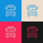 School Bus multi color icon