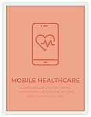 MOBILE HEALTHCARE SINGLE ICON POSTER DESIGN