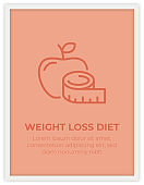 WEIGHT LOSS DIET SINGLE ICON POSTER DESIGN