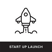 Start up Launch Outline Icon Design