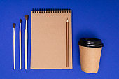 Drawing set isolated on blue background