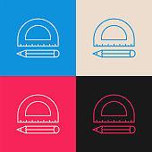 Pencil Ruler multi color icon