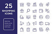 Shopping and Sale Line Icon Design