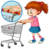 Girl touch shopping cart with germ