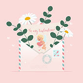 Envelope with love letter with cupid image. Love in the air concept. Cute vector illustration, template for Valentines greeting card