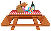 Picnic table with food and flowers on white background