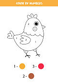 Coloring page with cute cartoon hen. Math game for kids.