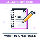 The School Notebook outline vector concept illustration.