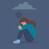 Depressed, Sad, unhappy, upset, crying woman sitting under dark cloud with rain. Psychology, depression, bad mood, feeling sadness, general loss, stress. Flat vector illustration.