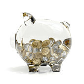 Profile of a 3D transparent piggybank filled with euro coins