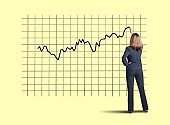 Businesswoman Draws Stock Chart On Yellow Background