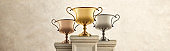 Gold Silver And Bronze Trophies Sitting On Pedestals