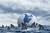 Globe Surrounded By Sharks