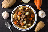 Irish beef stew with carrots and potatoes