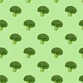 Pattern of broccoli cabbage on a green background. Healthy eating. Vegetarianism.
