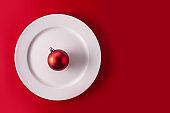 Christmas ball on white plate