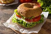 Vegetable bagel sandwich