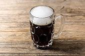 Traditional kvass beer mug with rye bread
