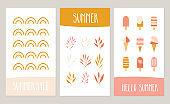 Set of summer cards with ice cream, rainbow, plants. Vector cute design.