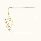 Squared frame with nature elements. Hand drawn golden borders. Card template with bouquet. Vector isolated illustration.