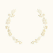 Elegant golden laurel. Wedding card design. Vector isolated illustration.