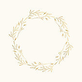 Golden fancy wreath. Ornate floral border. Circle frame. Vector isolated illustration.