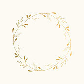 Golden botanical wreath. Vector isolated illustration.