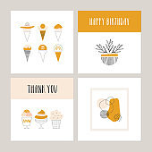 Set of cute cards with ice cream and abstract composition. Thank you poster. Happy birthday design. Vector illustration.